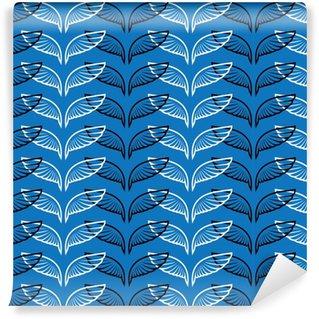 Vinyl behang, op maat gemaakt Engelenvleugels blauw schetspatroon