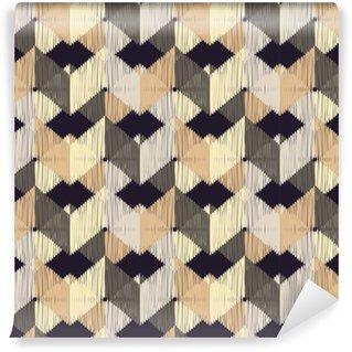 Vinyl behang, op maat gemaakt Etnisch boho naadloos patroon. krabbel textuur. retro motief. textiel rapport.