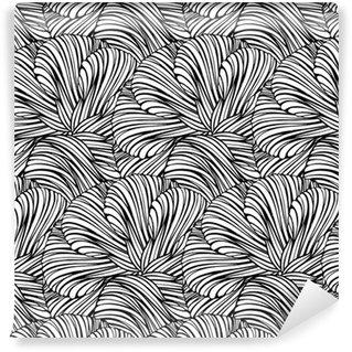 Vinyl behang, op maat gemaakt Fantasie decoratief zwart-wit naadloos patroon