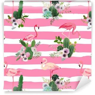 Vinyl behang, op maat gemaakt Flamingo vogel en tropische cactus bloemen achtergrond. retro naadloos patroon in vector