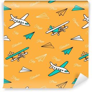 Vinyl behang, op maat gemaakt Geel naadloos patroon van schattige vliegtuigen