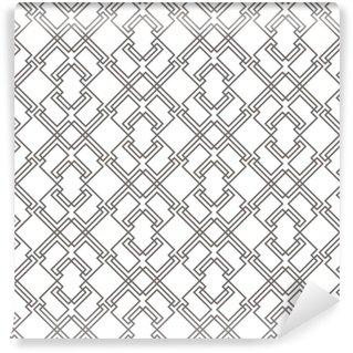 Vinyl behang, op maat gemaakt Geometrisch abstract naadloos patroon. lineaire motief achtergrond