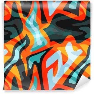 Vinyl behang, op maat gemaakt Graffiti kleine psychedelische naadloze patroon vectorillustratie