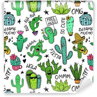 Vinyl behang, op maat gemaakt Grappig naadloos patroon van cactuskarakters.