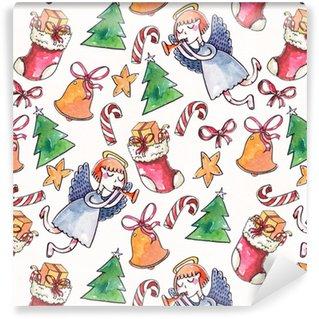 Vinyl Behang Groot raster naadloze patroon met engel in blauw, snoep stokken, kerstboom, sterren en klokken op wit geweven papier. aquarel hand getekend met borstel illustratie