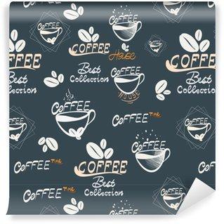 Vinyl behang, op maat gemaakt Hand drawning koffie naadloze afbeelding