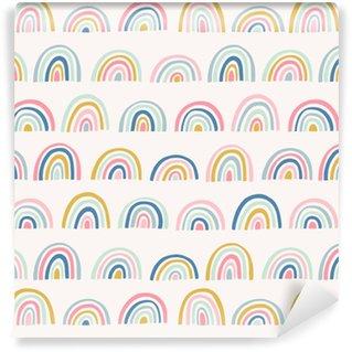 Vinyl behang, op maat gemaakt Hand getrokken geometrische abstracte patroon. schattig regenboog vector naadloze achtergrond in doodle stijl. felle kleuren.