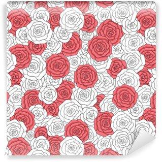 Vinyl behang, op maat gemaakt Hand getrokken vector witte en rode rozen naadloze patroon. abstract gevoelig bloemenornament.