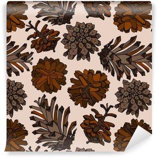 Vinyl behang, op maat gemaakt Hand getrokken vectorillustraties. naadloze patroon met denneappels. bos achtergrond