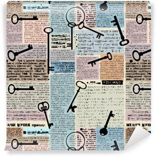 Vinyl behang, op maat gemaakt Imitatie van krant met sleutels