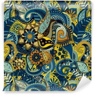Vinyl behang, op maat gemaakt Indiase kleurrijke naadloze patroon