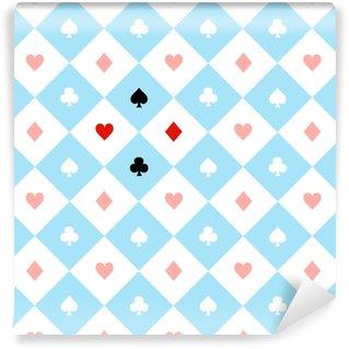Vinyl behang, op maat gemaakt Kaart past bij blauw rood wit schaakbord diamant achtergrond vectorillustratie.