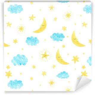 Vinyl behang, op maat gemaakt Kinderachtig naadloos patroon met maan, wolken en sterren. vector achtergrond voor kinderen ontwerp.