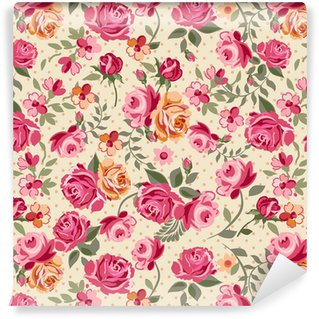 Vinyl behang, op maat gemaakt Klassieke vector rozen naadloze achtergrond