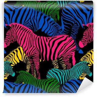 Vinyl behang, op maat gemaakt Kleurrijke zebra naadloze patroon. wilde dieren textuur. gestreept zwart en kleuren. ontwerp trendy stoffentextuur, vectorillustratie.