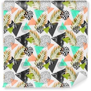 Vinyl behang, op maat gemaakt Kort zomer geometrische naadloos patroon