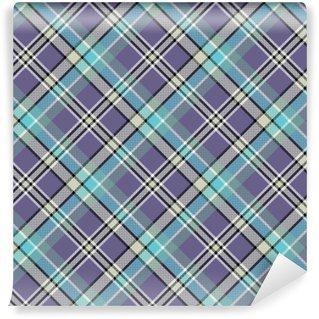 Vinyl behang, op maat gemaakt Koude kleuren diagonale plaid pixeled naadloos patroon