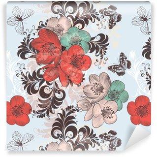 Vinyl behang, op maat gemaakt Mooie patroonillustratie met hand getrokken papaverbloemen in uitstekende stijl voor ontwerp