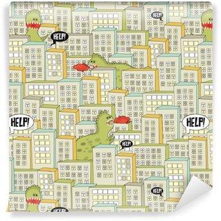 Vinyl behang, op maat gemaakt Naadloos patroon met gebouwen en monsters.