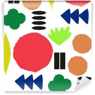Vinyl behang, op maat gemaakt Naadloos patroon met grafische geometrische elementen
