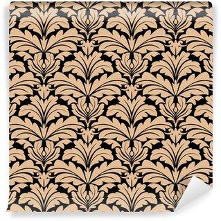 Vinyl behang, op maat gemaakt Naadloos patroon van beige bloemen arabesk motieven