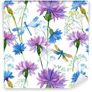 Vinyl behang, op maat gemaakt Naadloos patroon. waterverf blauwe bloemen en libellen