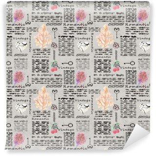 Vinyl behang, op maat gemaakt Naadloos romantisch vintage patroon, imitatiepagina's van het notitieboekmagazine.