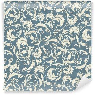 Vinyl behang, op maat gemaakt Naadloos victoriaans patroon in blauw, grijs en beige