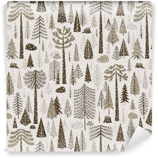 Vinyl behang, op maat gemaakt Naadloos winterpatroon van naaldbos
