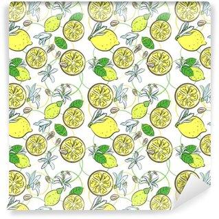 Vinyl behang, op maat gemaakt Naadloze achtergrond met citroenen