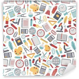 Vinyl behang, op maat gemaakt Naadloze achtergrond met kleurrijke school pictogrammen. geïsoleerd op wit