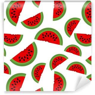 Vinyl behang, op maat gemaakt Naadloze achtergrond met watermeloen plakjes. vectorillustratie ontwerp voor de wenskaart en uitnodiging voor seizoensgebonden zomervakantie