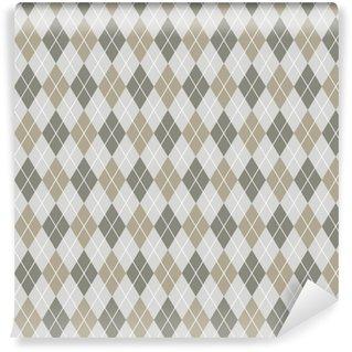Vinyl behang, op maat gemaakt Naadloze argyle patroon achtergrond. grijs en wit patroon.