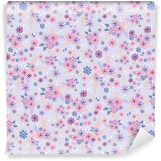 Vinyl behang, op maat gemaakt Naadloze bloemmotief. achtergrond in kleine roze bloemen op een lila achtergrond voor textiel, stof, katoenen stof, covers, behang, afdrukken, geschenkverpakking, briefkaart, scrapbooking.