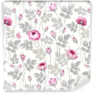 Vinyl behang, op maat gemaakt Naadloze bloemmotief met rozen in pastel kleuren