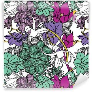 Vinyl behang, op maat gemaakt Naadloze bloemmotief