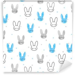 Vinyl behang, op maat gemaakt Naadloze bunny patroon. vector achtergrond met blauwe en grijze konijnen.