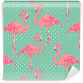Vinyl behang, op maat gemaakt Naadloze flamingo vogel patroon. hand getrokken vector
