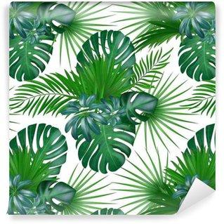 Vinyl behang, op maat gemaakt Naadloze hand getekend realistische botanische exotische vector patroon met groene palmbladeren geïsoleerd op een witte achtergrond.