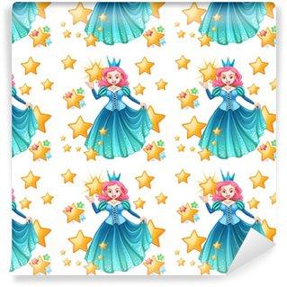 Vinyl behang, op maat gemaakt Naadloze koningin in blauwe jurk en sterren
