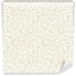 Vinyl behang, op maat gemaakt Naadloze lichte achtergrond met beige patroon in barokke stijl. vector retro illustratie. ideaal voor afdrukken op stof of papier.