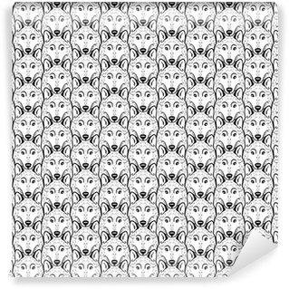 Vinyl behang, op maat gemaakt Naadloze patroon - een kudde wolven. zwart en wit.