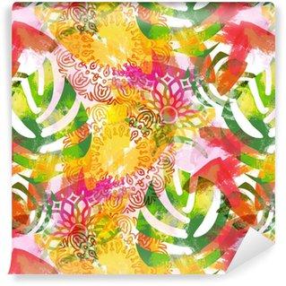 Vinyl behang, op maat gemaakt Naadloze patroon met bladeren en mandala's. tropische achtergrond met waterverfeffect. textieldruk voor bedlinnen, jas, pakketontwerp, stof- en mode-concepten