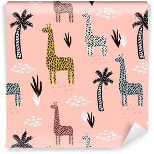 Vinyl behang, op maat gemaakt Naadloze patroon met giraffe, palmboom, hand getrokken vormen en texturen. Afrikaanse textuur voor stof, textiel. vector achtergrond
