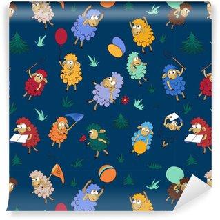 Vinyl behang, op maat gemaakt Naadloze patroon met grappige schapen. naadloos patroon als achtergrond met gelukkige gekleurde schapen voor ontwerp in een kinderenthema.