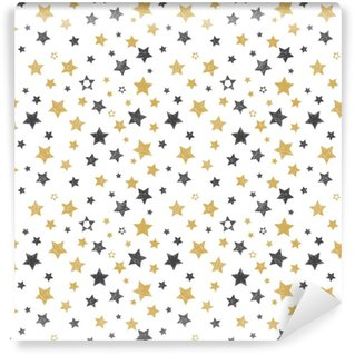 Vinyl behang, op maat gemaakt Naadloze patroon met hand getrokken sterren. stijlvolle achtergrond