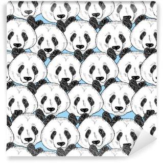 Vinyl behang, op maat gemaakt Naadloze patroon met panda gezichten.