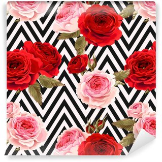 Vinyl behang, op maat gemaakt Naadloze patroon met rozen grond