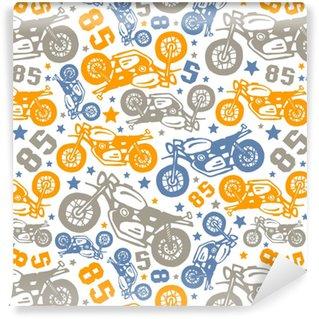 Vinyl behang, op maat gemaakt Naadloze patroon met tekeningen van motorfietsen