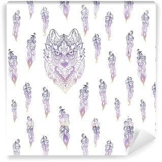 Vinyl behang, op maat gemaakt Naadloze patroon met tribal etnische wolf